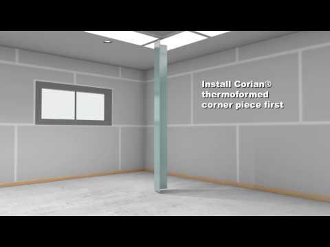 Dupont Corian Interior Vertical Wall Cladding Installation Youtube