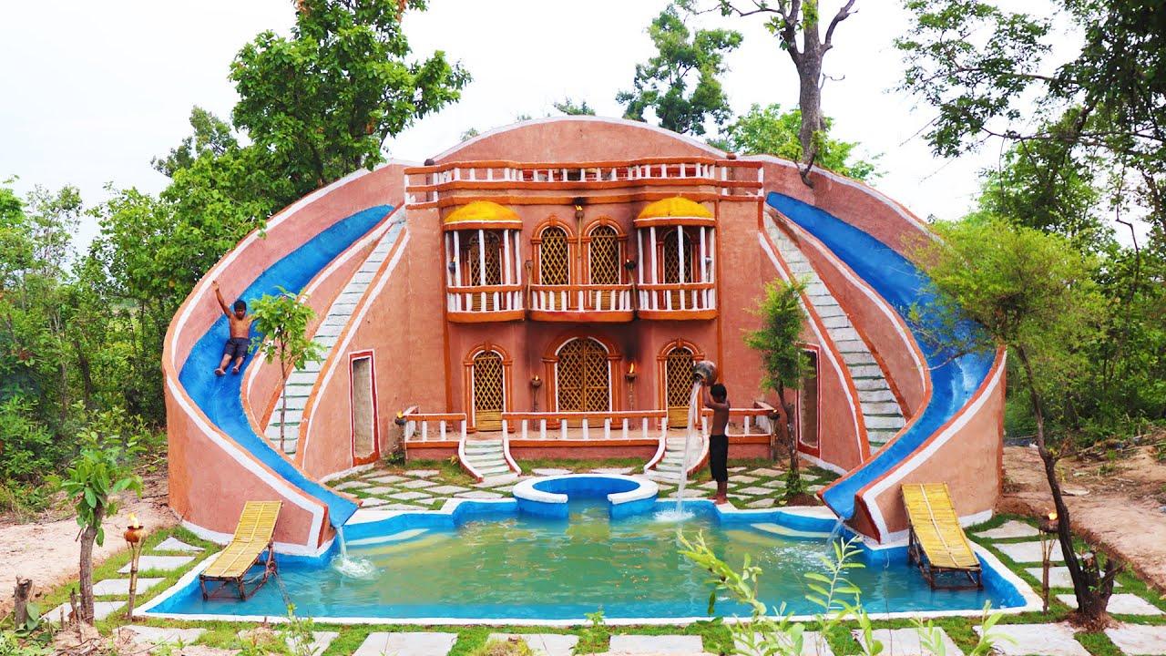 Build Most Wonderful Mud Villa, Twin Water Slide, Gorgeous Swimming Pool& Pool Top Villa [Full]