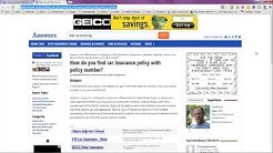 Auto Insurance Policy Number - Where To Look Where You Need It