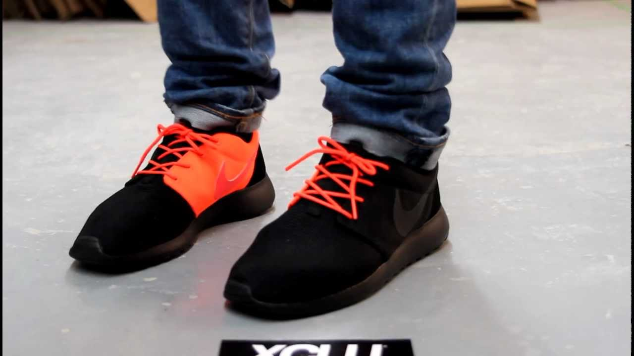 nike roshe run black crimson onfeet video at