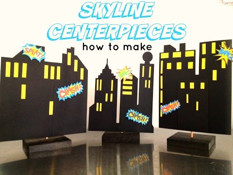 Skyline Superhero Building Centerpiece backdrop: How to Make DIY