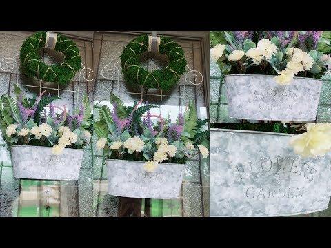 DIY Dollar Tree Front Door Floral Decor | DIY Moss Wreath | DIY Aged Looking Tin Tub