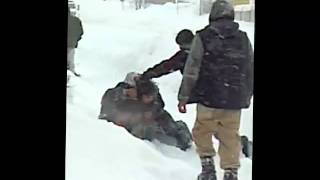 strong homeless woman snow fight alaska