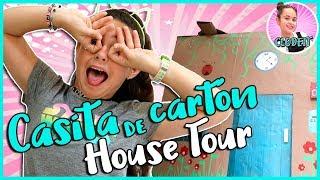 HOUSE TOUR de mi CASITA de CARTÓN 🏡 ¿Pasaré 24 HORAS en mi CASITA de CARTÓN? 💜 CLODETT