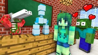 Monster School : ZOMBIE GIRL & BOTTLE FLIP CHALLENGE - Minecraft Animation