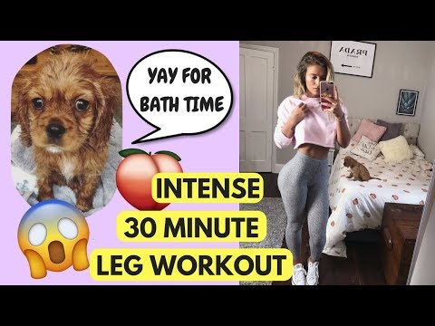 THE SWEATIEST LEG WORKOUT I'VE EVER DONE & My Puppy Had Her First Bath!