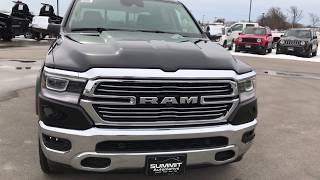 "ALL NEW 2019 RAM 1500 LARAMIE REVIEW WALK AROUND LEVEL 2 12"" SCREEN UCONNECT RADIO PANORAMIC ROOF"