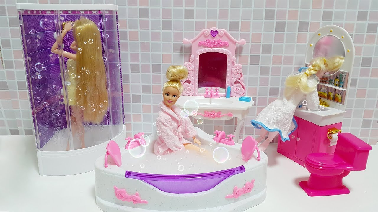 Slime Badkamer Barbie Bubbling Shower Bathroom Playset Unboxing बलबल सनन बथरम Chuveiro Bolha