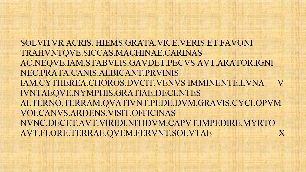 Image of a Latin poem on a light brown background