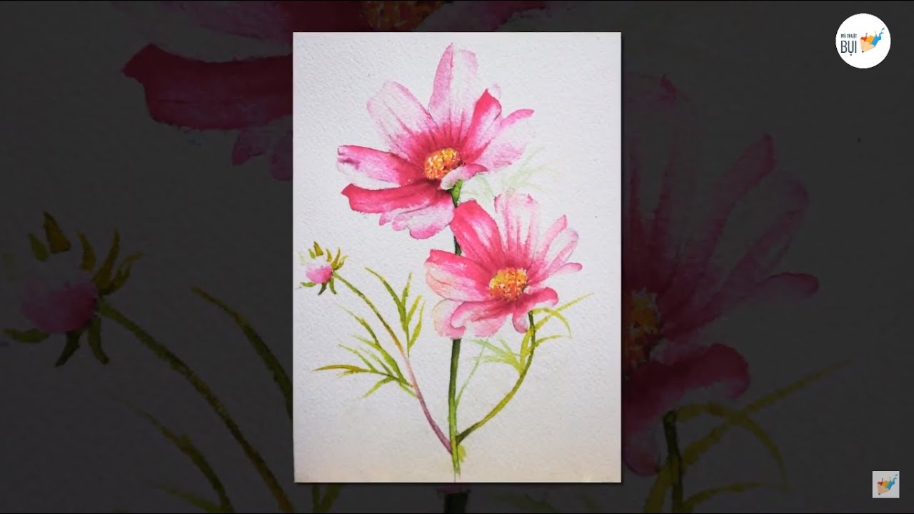 Học vẽ màu nước cơ bản | Hướng dẫn vẽ hoa cánh bướm