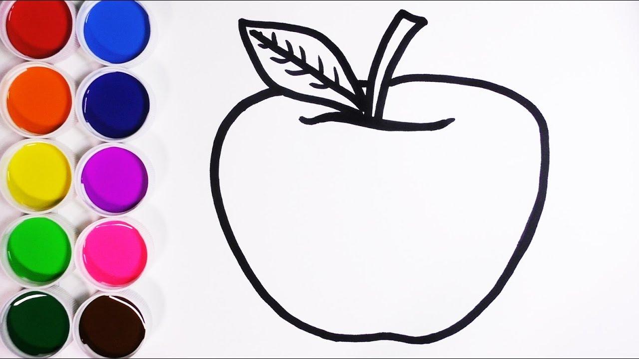 Como Dibujar y Colorear Manzana - Dibujos Para Niños - Learn Colors ...