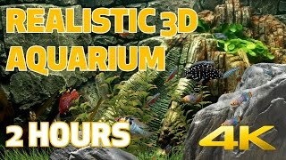 3D FISH AQUARIUM in 4K 60fps - 2 HOURS - Nature Relaxation