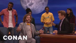 t j miller pulls up audience members for an impromptu dance party conan on tbs