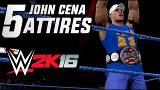 WWE 2K16 John Cena - 5 Attires for 2K16 (Most Wanted)