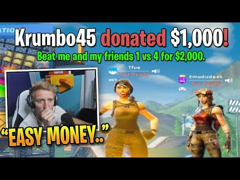 Tfue Accepts 1v4 Challenge for $3000 from Random Fan!