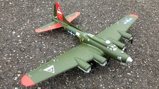 maiden flight and near crash e flite umx b 17g flying fortress wwii bomber with as3x technology