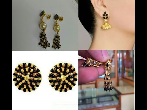 Black Beads Or Black Stone Gold Earring Designs