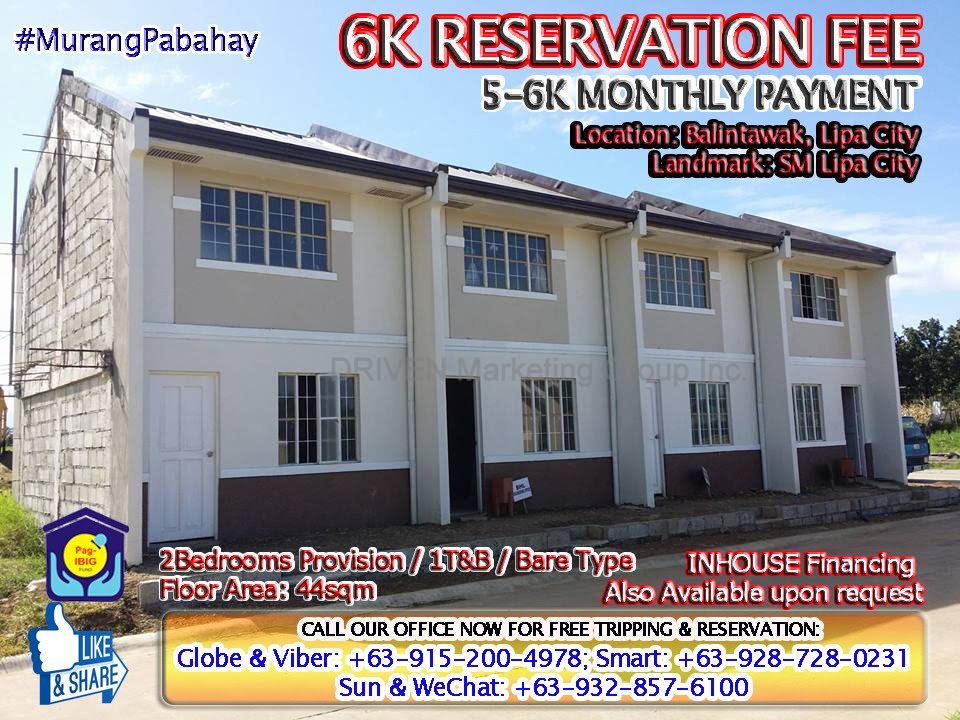 CHEAP TOWNHOUSE LIPA CITY BRIXTON HOMES 5K to 6K MONTHLY CHEAP RENT TO OWN  / SM LIPA CITY