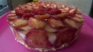 Твороженый торт, чизкейк с клубникой. Без выпечки . Рецепты моей бабушки