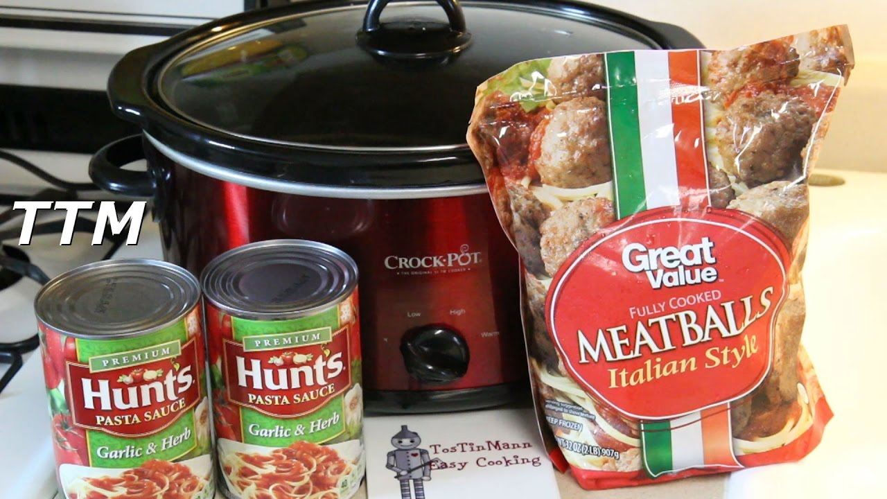 Spaghetti And Meatballs In The Crock Pot Slow Cooker Walmart Italian Style Meatballs Review Youtube
