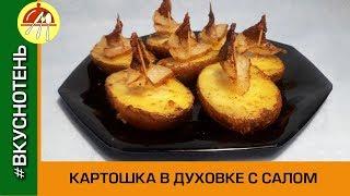 Картофель запеченный с салом Картошка с салом и специями в духовке Кораблики из картошки