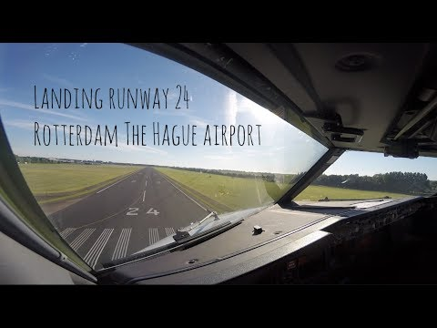 Approach and landing runway 24 Rotterdam The Hague airport (RTM EHRD)