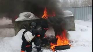 Тренировка по тушению пожаров у добровольцев-спасателей