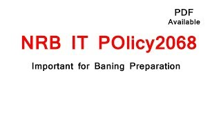 Nrb It Policy, 2068