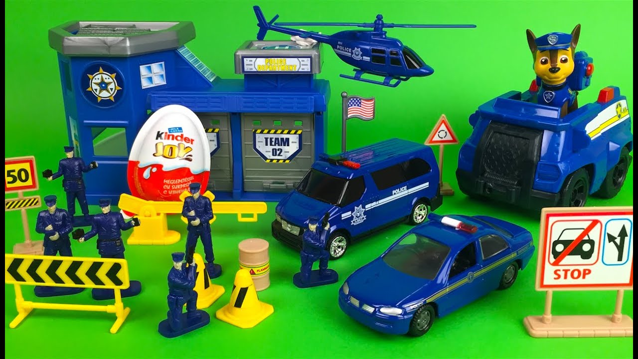 Motor Max Police Station Playset With Cars And Paw Patrol Chase Disney Olaf The Snowman