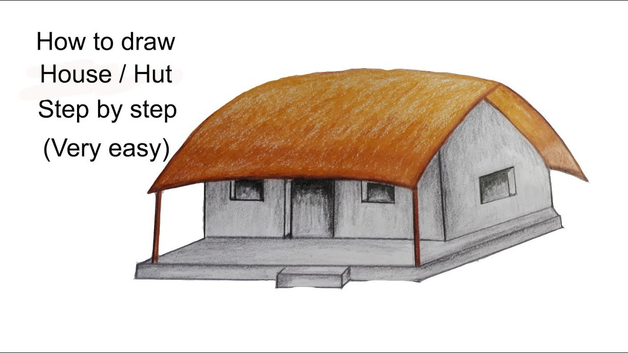 How To Draw House Hutvery Easy