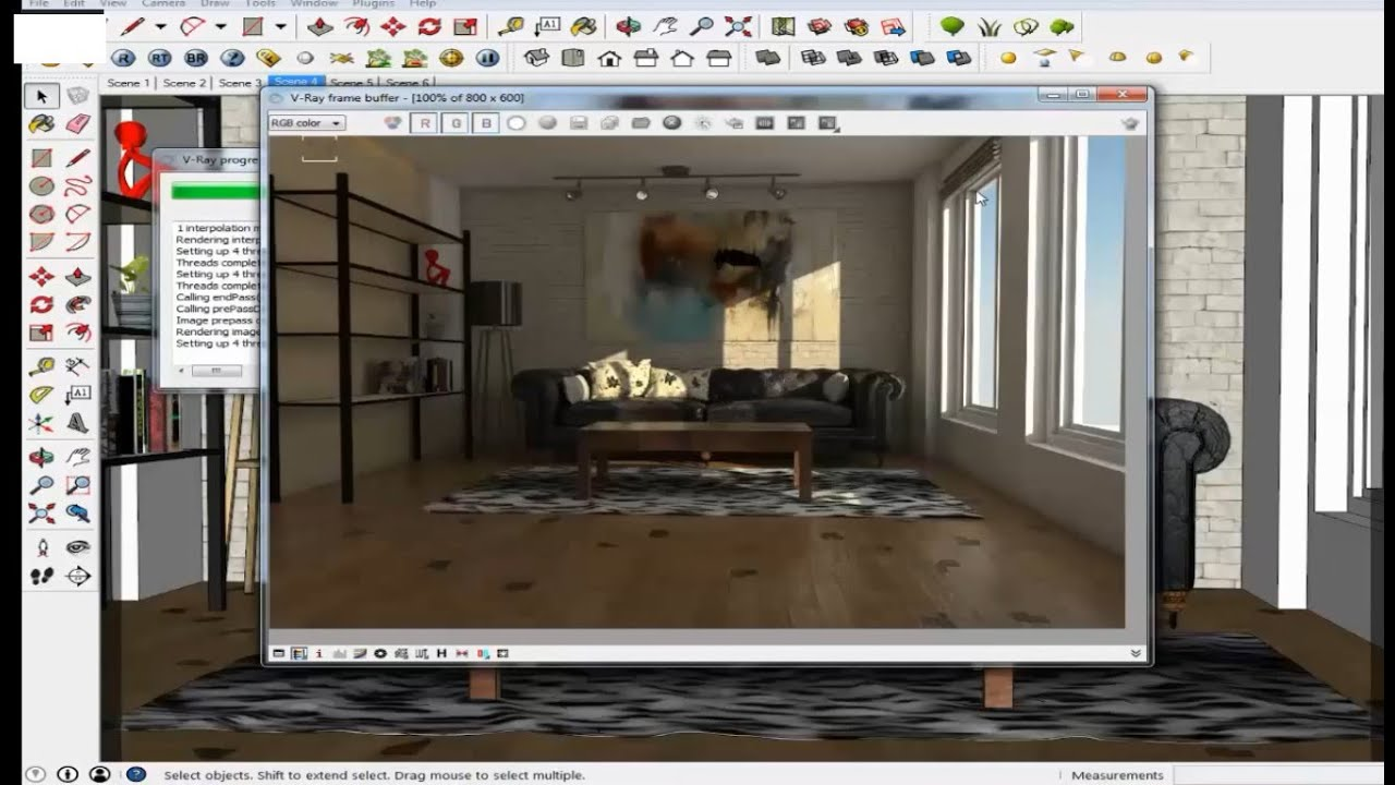 Vray Lighting Tutorial Sketchup Vray Interior Living Room Lighting Youtube