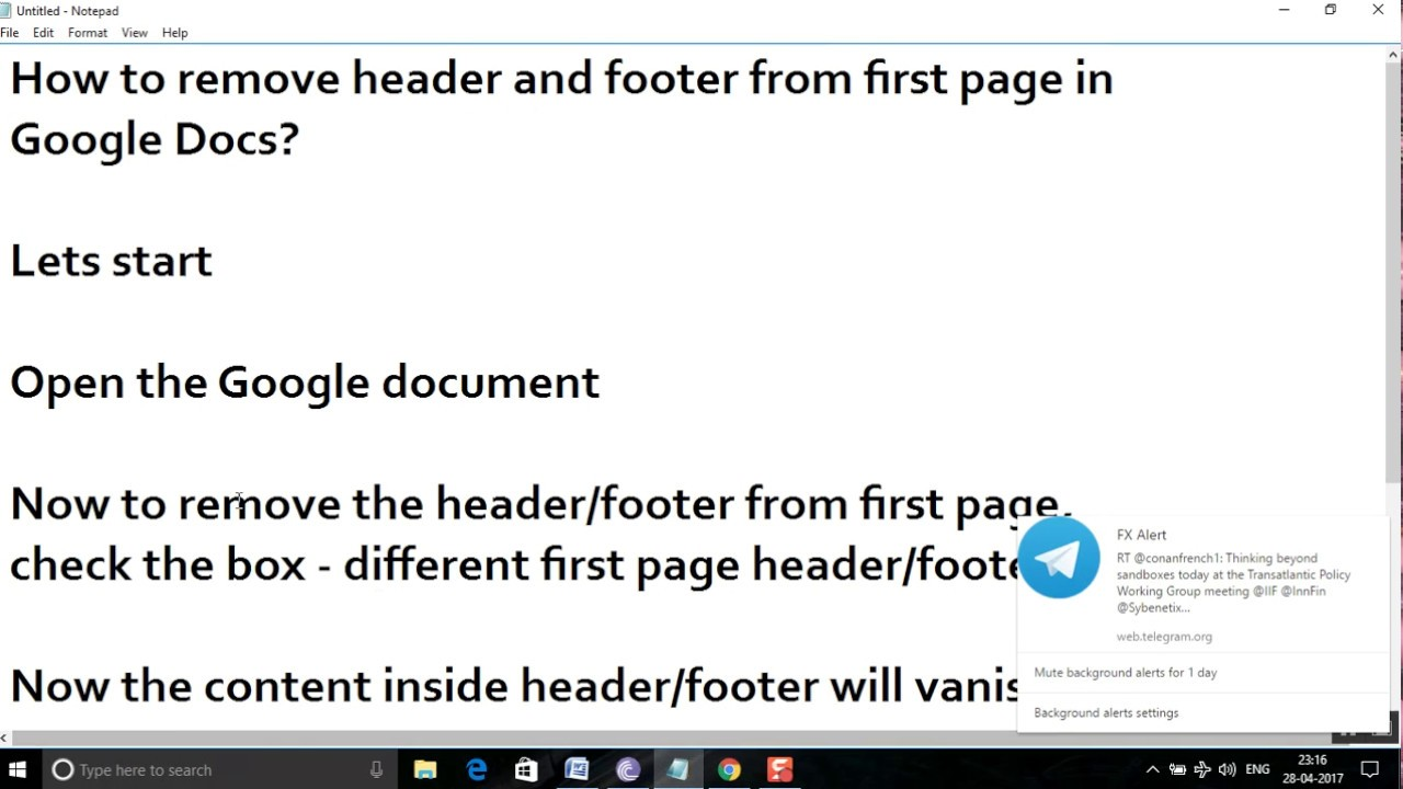 How To Remove Header And Footer From First Page In Google Docs?