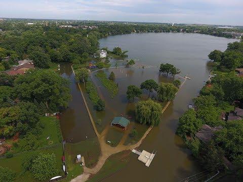 Grayslake, il Flooding Drone Footage at Jaycee Park Flood