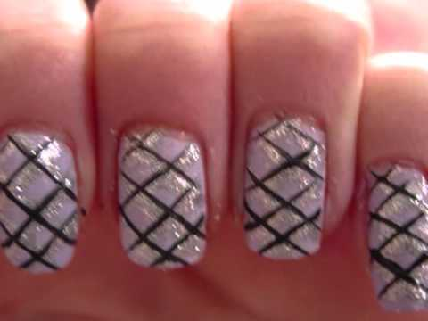 Glitzy Criss Cross Nail Art Tutorial Youtube