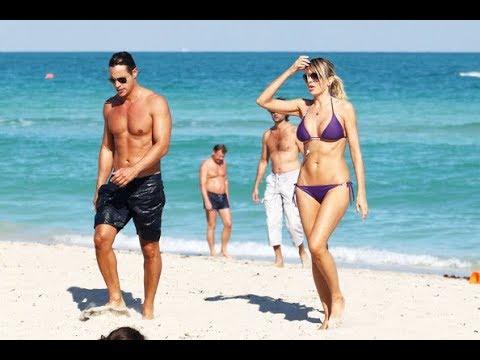 Rita Rusic Blue Bikini Candids At South Beach In Miami