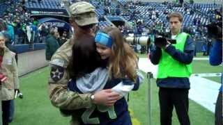 Cutest Surprise for Soldier Homecoming on Veterans Day at Seahawks Game!