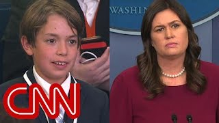 This kid's question made Sarah Sanders choke up thumbnail