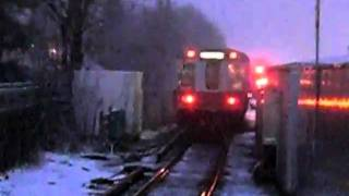 MBTA Redline Trains and A Commuter rail Train At Braintree Station