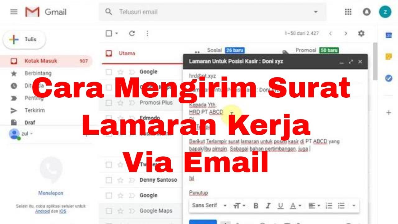 Cara Mengirim Surat Lamaran Kerja Melalui Email - YouTube