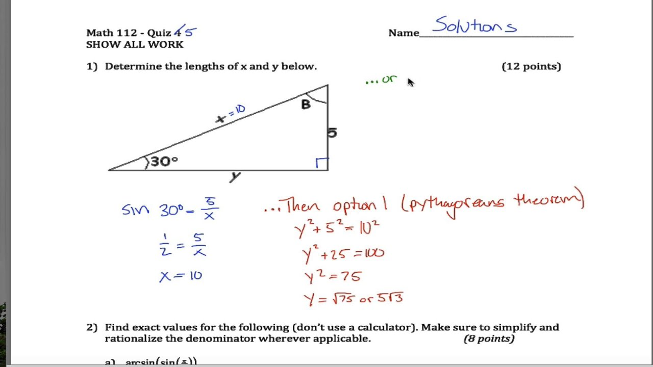 Inverse Trig and SOHCAHTOA Quiz - YouTube