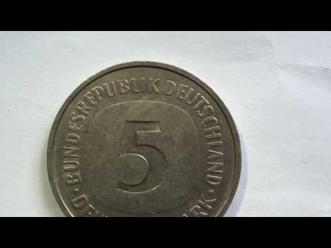Coin 5 Bundesrepublik Deutchland Deutsche Mark 1975 F