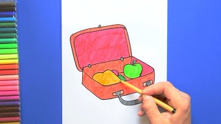 How to draw and color a School Lunch Box
