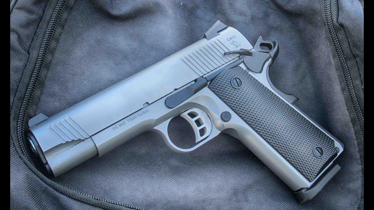 Tisas Stainless Steel Carry 1911 Pistol at the range