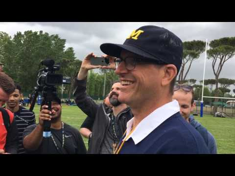 Watch Jim Harbaugh chase his QBs during drill in Italy