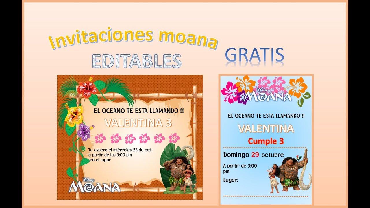 Invitaciones Moana Editables Gratis