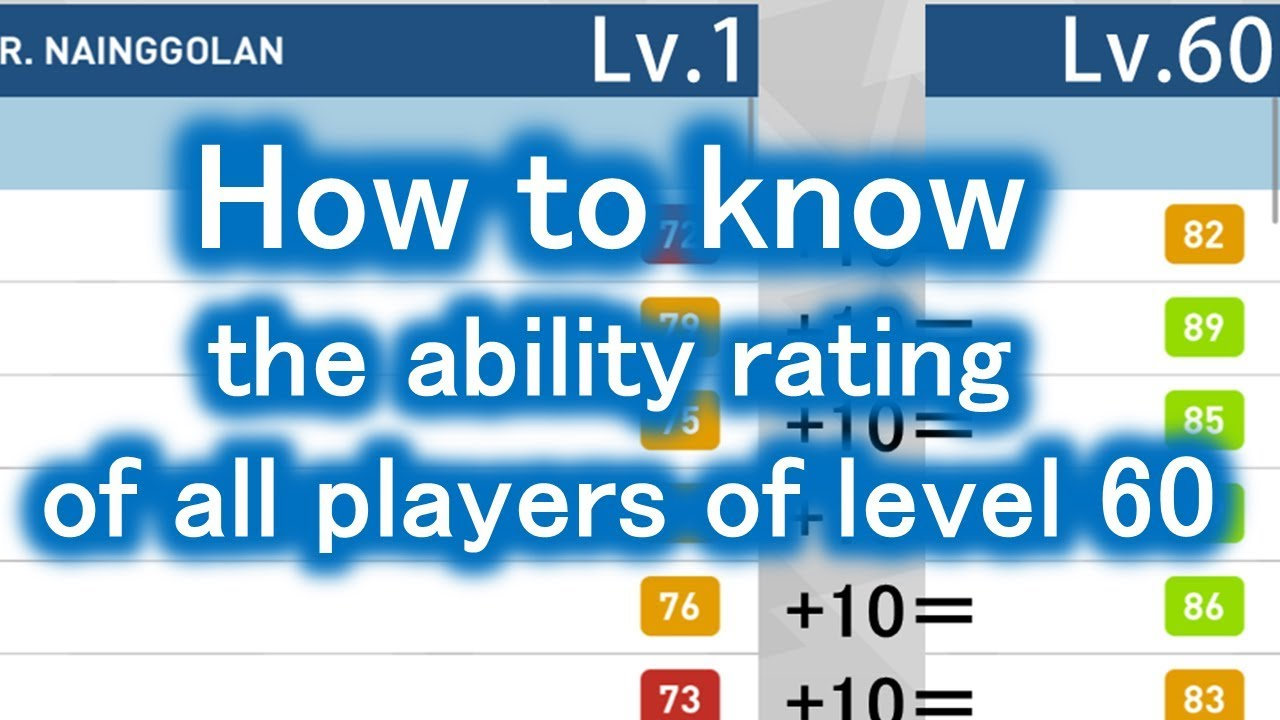 How to know the ability rating of all players of level 60 - PES 2018 mobile