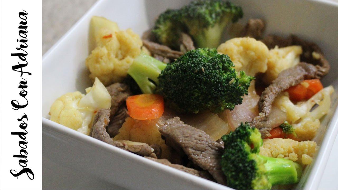 Como hacer una ensalada de vegetales con carne de res - Como hacer verduras salteadas ...