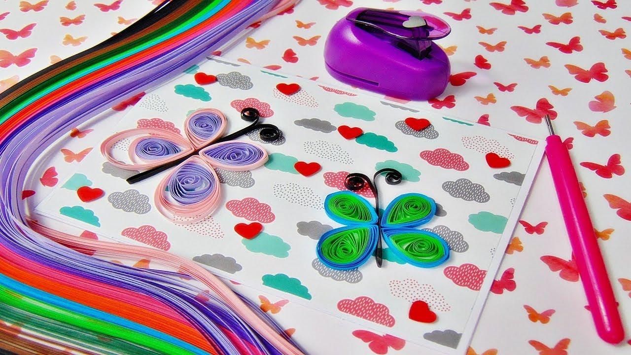 Basteln Gluckwunschkarte Mit Quilling Schmetterlinge Paper