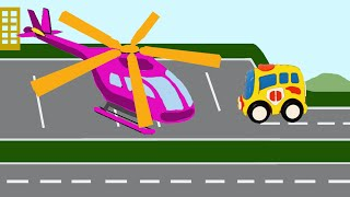 Мультики про машинки  Автобус и вертолет - транспорт. Развивающие мультики для детей