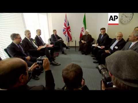 UK Prime Minister Cameron meets Iranian President Rouhani